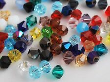 50pcs 8mm Bicone Faceted Crystal Glass Findings Loose Spacer Beads Mixed Colours