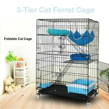 "3-Tier 45.3"" Rolling Kitten Cat Ferret Cage Folding Cat Home Pet Cage Playpen"
