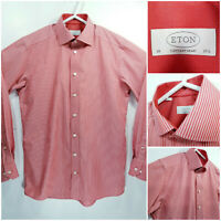ETON Contemporary Mens 15.5 39 Long Sleeve Button Up Red White Striped