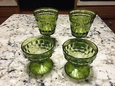 Set of 4 Green Glass Footed / Pedestal Dessert, Ice Cream Dish