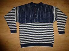 Men's Janus Chunky Multi Nordic Pattern Wool Blend Icelandic Jumper Sweater – L