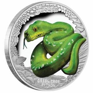 2018 Tuvalu Australia's Remarkable Reptiles Green Tree Python 1 oz Proof Silver