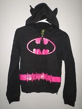 BATMAN girls lrg hoodie Batgirl youth hooded sweatshirt DC Comics w/ pink
