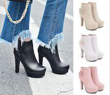 Women's Ankle Boots Flower Block High Heels Round Toe Platform Shoes Side Zip