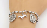 925 Sterling Silver - Vintage Assorted Charm Round Link Chain Bracelet - B8170