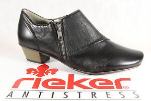 Rieker Damen Slipper Pumps Halbschuhe Sneakers schwarz Leder NEU!