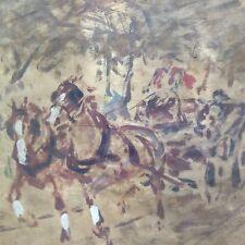 Impressionsmus Ölgemälde Park Kutsche Droschke Reiter Pferd Hans von Heider~1925