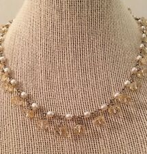 CITRINE Briolette & White Pearl Dangle Drop Sterling Silver Necklace