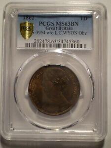 SBQ10 Great Britain Victoria 1862 penny PCGS MS63BN