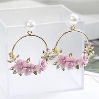 New Ear Personality Flower Stud Fashion Jewelry Pearl Earrings Women Temperament