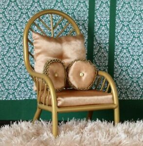 Miniature chair 1:6 scale dollhouse furniture gold metal wicker luxury royal pro
