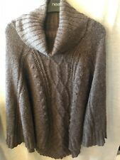 Poncho H&m Ladies Brown One Size 90% Acrylic 10% Mohair Preowned
