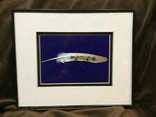 Hand Painted Ooak Pigeon Feather by Fernandez - Yorkshire Terrier Framed Dbl Mat