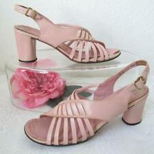Vintage 70s Amano Pink Strappy Leather Sandals 7N Mod Block Heel Groovy Last
