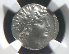 Greek Silver Drachm of Anitochus VI 144-142 BC, Seleucid Kingdom NGC AU 9002
