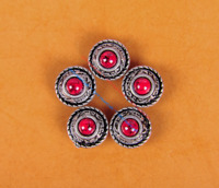 10PC 12MM TURQUOISE ANTIQUE SLIVER FLORAL ROPE LEATHER CRAFT CONCHOS SCREW BACK