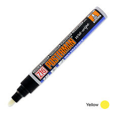 Zig Posterman Wet Wipe Marker - Medium - Yellow (Pack of 12)