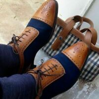Handmade Men's Brown Leather & Blue Suede Cap Toe Brogues Two Tone Dress Shoes