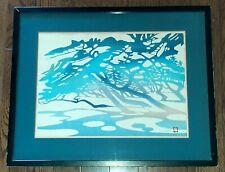 Vtg Nenjiro Inagaki Mikumo Wood Block Blue WaterPrint Signed & Dated Limited Ed.