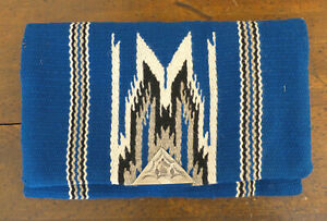 Vintage Chimayo Ganscraft HAMMERED CLASP Blue Wool HAND WOVEN Clutch PURSE