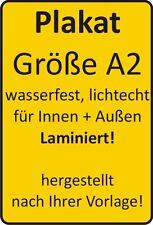 2 Plakate Größe A2 wetterfest, laminiert, lichtecht
