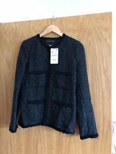 Zara Woman Black Boucle Wool Boxy Blogger Chic Jacket Medium