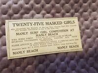 Manly Surf Girl Competition - Manly Beach - 1931 Advertisement