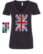 Union Jack V-Neck T-Shirt United Kingdom Distressed British Flag