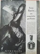 1960 MYRURGIA bottle perfume from Barcelona Spain Spanish dancer fan ad