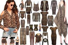 WOMENS LADIES LEOPARD PRINT SWING CAMI,SHRUG,SKIRT,BODYSUIT,LEGGING,DRESS 8-26