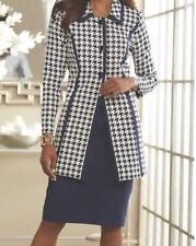 Ashro Navy Quinn Houndstooth Duster Skirt Suit Formal Dress 8 12 14 20W 22W