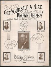 Get Yourself A Nice Brown Derby 1928 Alfred E Smith Political Sheet Music