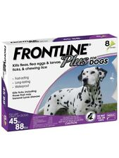 FRONTLINE PLUS DOGS 45-88Lbs FLEA & TICK CONTROL 8 DOSES NEW, SEALED