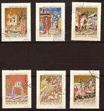65T3 HONGRIE   6  Timbres obliteres:Scenes de la vie en l'an 1370