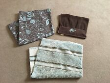 Sonoma Life + Style Cotton Shower Curtain, Rug, And Hand Towel-Brown & Aqua