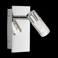 Pared Reflector LED Bombilla Cromo Aplique Cristal con Burbujas de Aire Conector