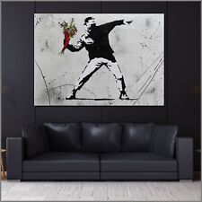 Banksy Flower Chucker Thrower Urban Pop Street Art Textured Painting 140cmx100cm