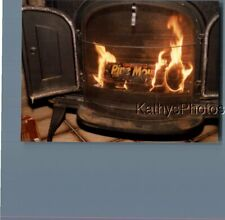 FOUND COLOR  PHOTO K_9819 PINE LOG IN LIT GAS STOVE