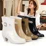 Womens Kitten Block Heel Pull On Mid Calf Casual Skidproof Rain Boot Shoes