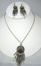 "Southwestern Beaded Necklace Fringe Pendant + Earrings Set Silver tone Chain 19"""