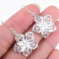 1 paar Damen 925 Sterling Silber Ohrringe Ohrstecker Ohrhänger Blume-Schmuc H2X3