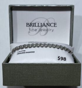 BRILLIANCE FINE JEWELRY S. Silver 1/4 CTTW Diamond S Tennis Bracelet