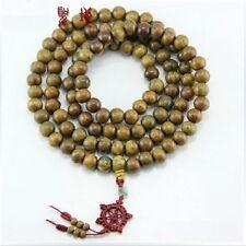 "Fragrant Huge 108 10mm Green Sandalwood Prayer Beads Wheel Mala Necklace -41"""