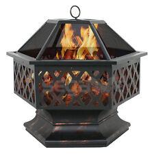 Hex Shaped Fire Pit Outdoor Home Garden Backyard Firepit Bowl Fireplace Log Wood
