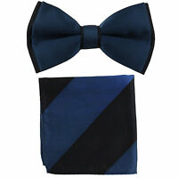 New Men's Two Tones Pre-tied Bow Tie & Hankie Set sapphire blue & Black