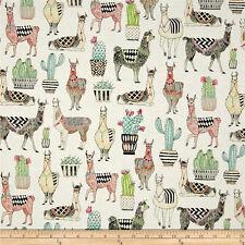 Michael Miller Fabric CX7297 Cotton Fabric Llamas, Alpaca on white  By The Yard!