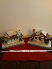 Vintage 2 Christmas Putz House Winter Decor For train Japan Can Light Large 6""