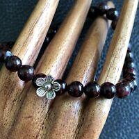 AAA Garnet Crystal Antique Mini Flower Silver 6mm Beaded Bracelet Nat Gemstone