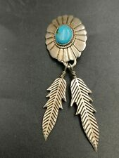 One Sterling Silver Turquoise Feather Earring.
