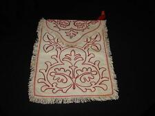 Beautiful Antique Lingerie,Hankie Case,Sachet~Red,White Raised Hand Embroidery